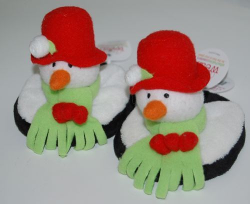 Carrie Olsen Garrard Snowman Plush Holiday Attachable Coasters Drink Wear 2 Set
