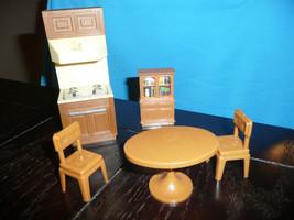 Vintage 5 Pc Epoch Kitchen Minature Doll House Furniture Hong Kong Htf Rare - $19.79