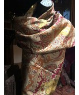 Vintage Fine Wool And Silk Red Paisley Wrap Shawl - $64.35