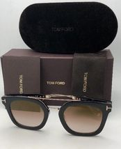 New TOM FORD Sunglasses ALEX-02 TF 541 01F 51-25 145 Black & Gold w/Brown+Mirror image 11