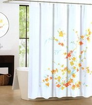 Tahari Luxury Cotton Blend Shower Curtain Printemps Orange Yellow Aqua T... - $31.67