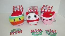 Squeezamals blind box lot 3 holiday Puffy fluff ball Tess Panda Yule Pig scented - $19.79