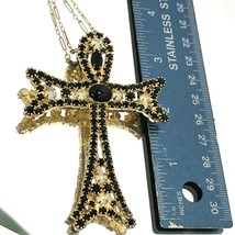 """Vintage Rhinestone Cross Necklace Pin  Large 14"""" Chain is Modern Black Gold tone - $33.24"""