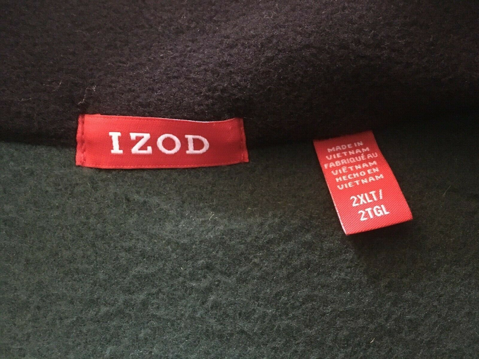 IZOD Full-Zip Polar Fleece Jacket Big & Tall Hunter Green w/ Black Trim 2XLT $70 image 3