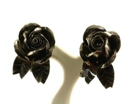 Vintage 3D Rose Flower Design Screw Back Earrings 925 Sterling ER 948 - $19.99