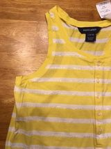 NWT Ralph Lauren Girl's Yellow & White Striped Sleeveless Shirt - Large 12/14 image 3