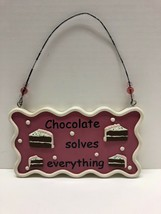 Chocolate Solves Everything Wall Hanging Sign Cake Pink Dessert Plaque - $17.77
