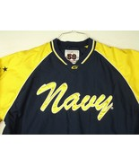 US Navy Blue Gold Pullover Lined 58 Sports Sz L V Neck Windbreaker Side ... - $26.99