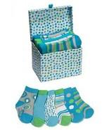 Baby Boy Socks in Keepsake Box Blue Circles Stripes Size 0-12 months   - $13.86