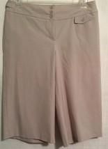 Ann Taylor Loft Sz 10 Ann Style Beige Wide Leg Capri Pants Polyester Blend - $14.84