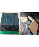Boy. BAND OF OUTSIDERS LEATHER SKIRT Colorblock Black Green Blue Italy N... - $280.14