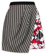 Peter Pilotto Target Black White Red Floral Check Geo Skirt 12 Nwot - $11.69
