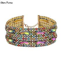 Olsen Twins Luxury Colorful Crystal Choker Necklaces for Women Gold Coll... - $12.24