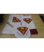 SUPER BABY Layette Set --Bib, Burp Rag, and Receiving Blanket Machine Em... - $30.00