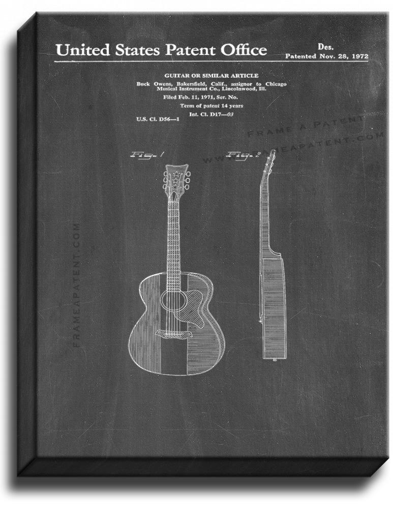 Primary image for Guitar Patent Print Chalkboard on Canvas
