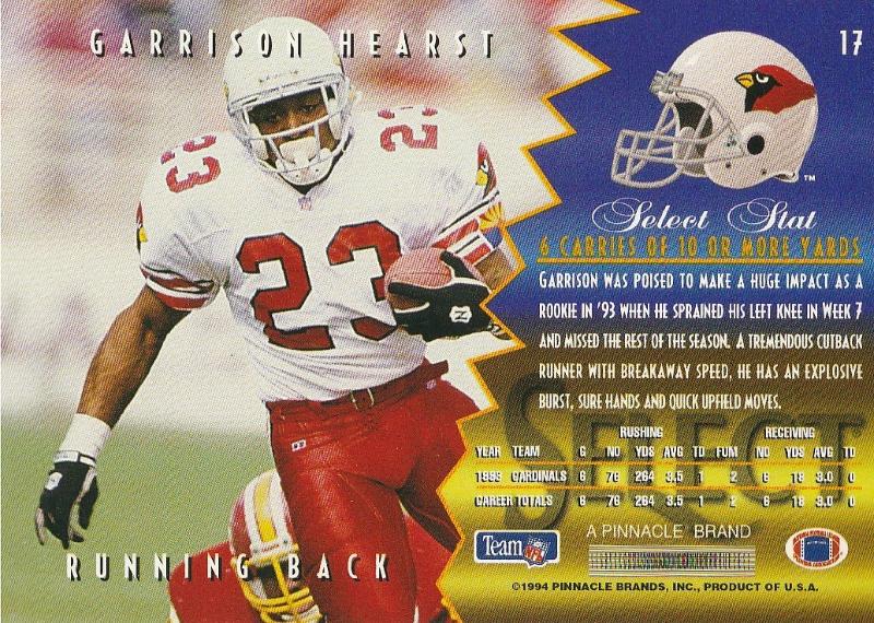 1994 Select #17 Garrison Hearst