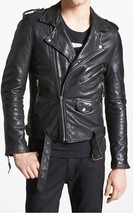 Mens Black  Handmade  Real Bespoke Cowhide Leather Black Genuine Leather Jacket - $118.79+