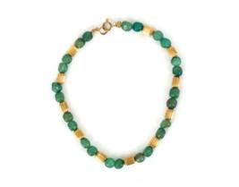 """Vintage 60s Adventurine14K Gold Filled Barrel Ribbed Beads Beaded Bracelet 7.75"""" - $53.99"""