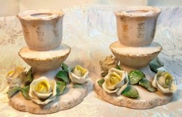 Vintage Porcelain Lefton China Candle Holders White Yellow Roses Gold Trim Japan