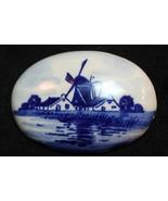 Vintage Dutch Holland Windmill Porcelain Brooch Pin - $12.86