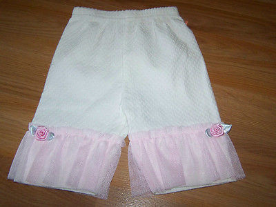 Primary image for Infant Baby Size 3-6 Months Off White Pants with Pink Tulle Accent Spring Summer