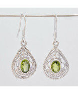 jaipur 925 Sterling Silver cute genuine Green Earring gift UK - $15.66