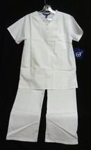 Option White V Neck Top Drawstring Pant 5XL Uniform Scrubs Scrub Set 900... - $35.25