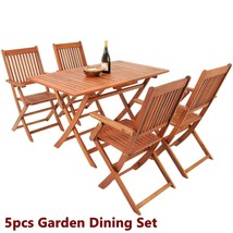 Garden Hardwood Dining Table Chairs Set Folding Outdoor Easy Storage Furniture image 2