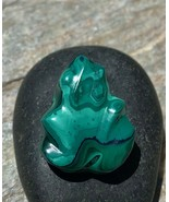 Genuine Malachite Carved Frog With Azurite Green Stone Animal Carving 1.... - $46.74