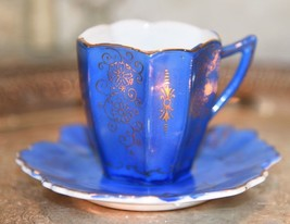 VINTAGE JAPAN DEMI TEA CUP LEAF SHAPED SAUCER FRENCH BLUE W/ GOLD GILT S... - $22.99