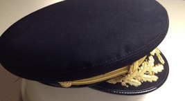 Midway Military Style Police Hat 4 Star Cap Black Size 6.24 to 6.75 Gold Leaves - $47.52