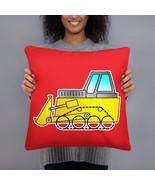 Bulldozer Excavator Construction Vehicle Cartoon Toy Yellow Pillow Cushion - $28.50+