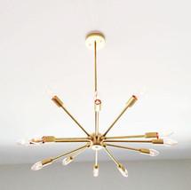 12 Light Mid century modern brass chandelier light Fixture - Brushed Brass - £209.68 GBP