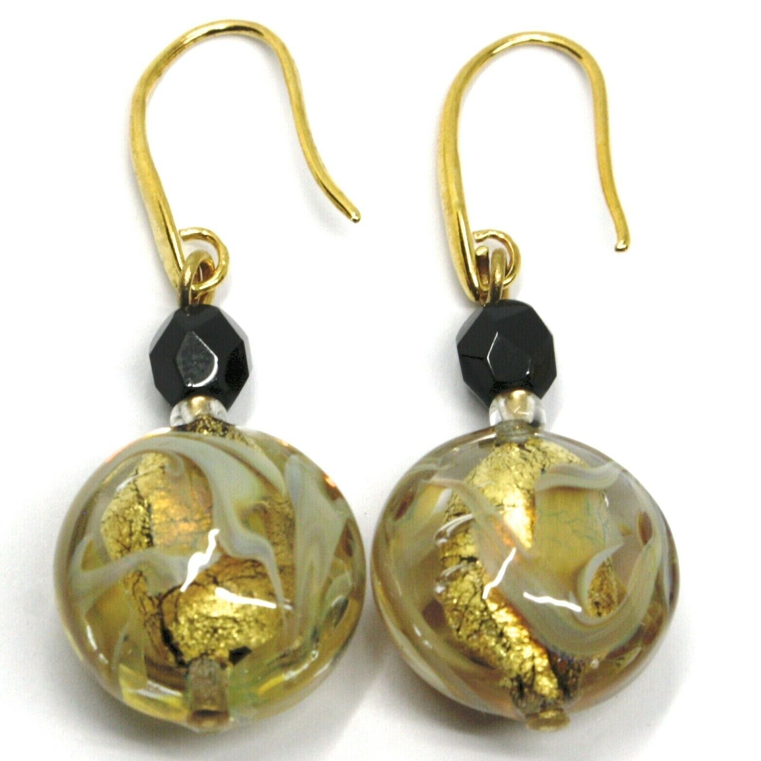 PENDANT HOOK EARRINGS BLACK YELLOW DISC MURANO GLASS GOLD LEAF MADE IN ITALY