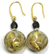 PENDANT HOOK EARRINGS BLACK YELLOW DISC MURANO GLASS GOLD LEAF MADE IN ITALY image 1