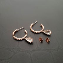 Hoop Water Drop Made With Swarovski Crystal Dangle Earrings Rose Gold Tone Pink image 5