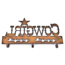 Country Western Rusted Patina Iron Metal Cutout Cowgirl 3 Hook Key Hanger Decor image 4