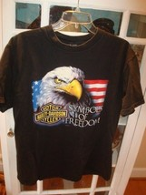 Black Harley Davidson Motorcycles Symbols of Freedom Eagle T Shirt Est L - $11.87