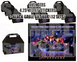 AVENGERS ENDGAME Party Favor Boxes Thank you Decals Stickers Loots Party... - $24.70