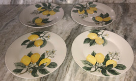 "Royal Norfolk 10 1/2"" Dinner Plates Set Of 4 Yellow/Green Lemon Print-NE... - $48.88"