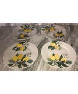"""Royal Norfolk 10 1/2"""" Dinner Plates Set Of 4 Yellow/Green Lemon Print-NE... - $48.88"""