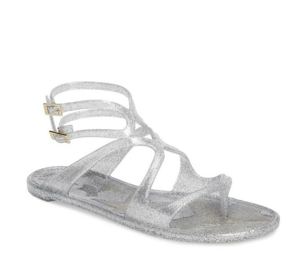Primary image for NIB Jimmy Choo Lance Silver Metallic Glitter Rubber Jelly Sandals 7 37  New