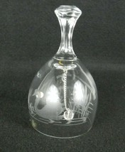"""Clear Glass Bell ~ West Germany ~ Etched Swan Scene ~ 5"""" - $15.99"""