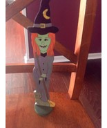 Cackling Face Witch Figure holding broom w/ Cat Wooden Figure Halloween ... - $29.69