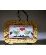 "NEW  Accent Handmade Pillow. appliqued birds Enter with Happy Heart. 11x8"" Yelow - $14.63"