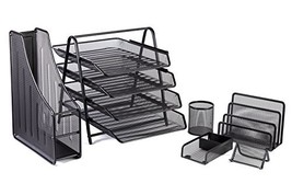 Office Desk Accessories Mesh Organizer - 4 Tier File Tray and 3 Upright ... - $38.97