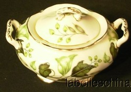 Foley Everglades Covered Sugar Bowl and Lid Green Leaves Gold Gilt Trims - $29.65
