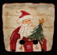 "Maxcera Woodland Santa Hand Painted 9"" Square Ceramic Christmas Plate - $14.00"