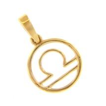 18K YELLOW GOLD ZODIAC SIGN ROUND MINI 12mm PENDANT, ZODIACAL, LIBRA, STYLIZED image 1