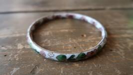"""Antique Vintage White Cloisonne Bracelet Inner Diameter 2.75"""" - $23.75"""